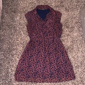 Navy and dark orange floral dress